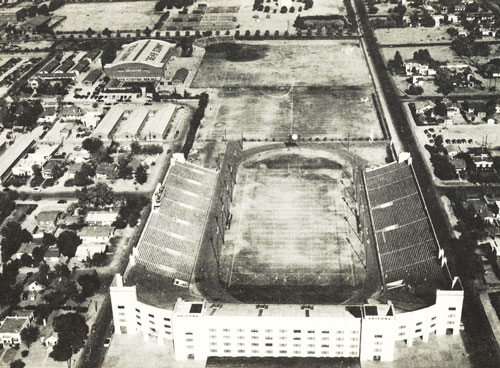 The University of Arizona Stadium (Above in outline - original Baseball Stadium). Two football players wanted a stadium