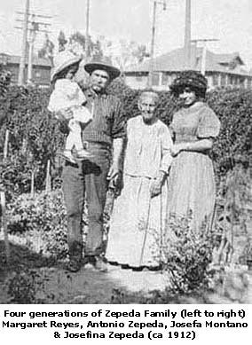 4 generations of Zepeda Family (left to right) Margaret Reyes, Antonio Zepeda, Josefa Montano & Josefina Zepeda (ca 1912)