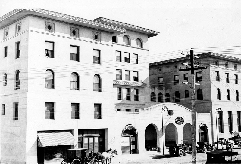 Construction on the Santa Rita Hotel began in 1904 and plans called for every modern amenity. Over the years, the Santa Rita became the social center for the Tucson community.