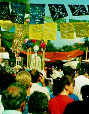 Locally made banderolas or cut paper flags at the 1992 San Agustín procession outside the Arizona Historical Society (JSG)