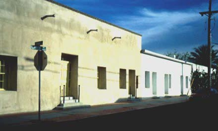 Street in Tucson's Barrio Historico  with Sonoran style house