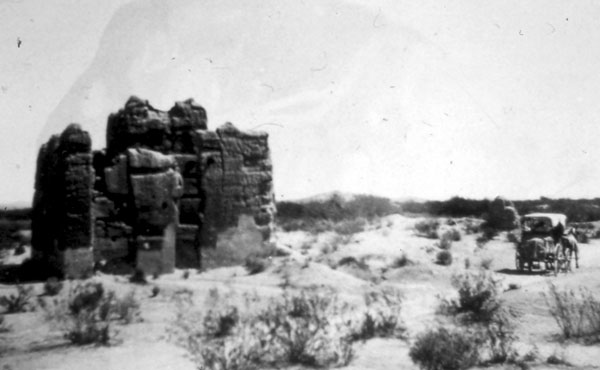 The ruins of Casa Grande in central Arizona. A few years after this picture was taken, the ruins were designated a National Monument and had a protective roof structure placed overhead.