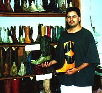 Luis Maldonado in his family store, Claudia's Boots, August 1994 (JSG)