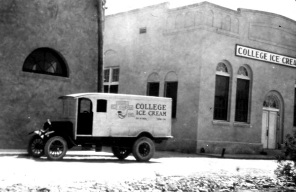The College Ice Cream Factory was built to the west of the Gift Shop/Green Lantern building. This 1926 Model T Truck was used to deliver College Ice Cream to stores around town.