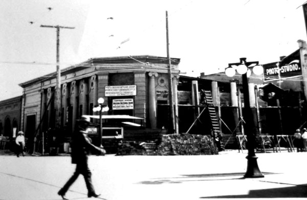The remodeling to the building below forced the temporary relocation of the regular tenant, the Arizona National Bank, to the Merchants Bank and Trust Building on Congress and Scott Streets. Photo dated July 15, 1915.