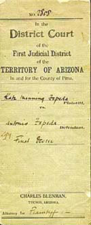 Divorce decree of Antonio Zepeda & Kathleen Manning (1899)