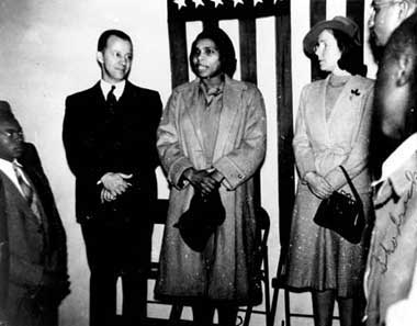 Marian Anderson, famous contralto singer, visits Dunbar in the early 1940's