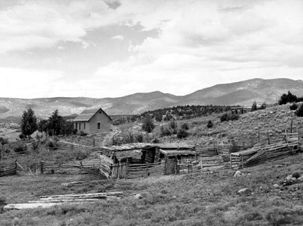 Farmstead of a Spanish-American Farmer, Chamisal, New Mexico, 1940. Photo by Russell Lee, courtesy Library of Congress