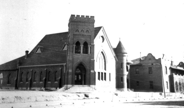 This Methodist Church was located on South Sixth Avenue a block south of Broadway. The Willard Hotel was directly south of the church. This was Louise Foucar's church when she first came to Tucson.