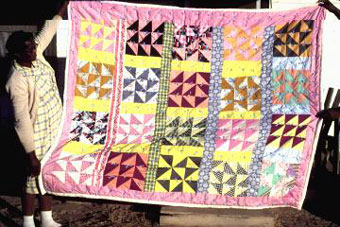 Mrs. Ella Mae Muldrow with an unnamed quilt, December, 1979 [image courtesy of James S. Griffith]