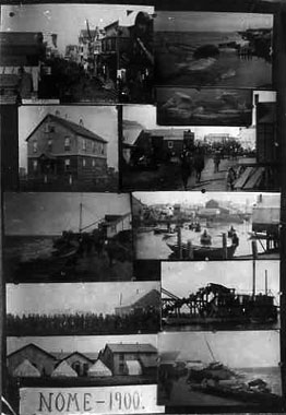 This collage of photos depicts Nome in 1900.