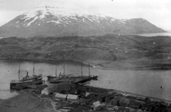 Dutch Harbor with mountains in the background