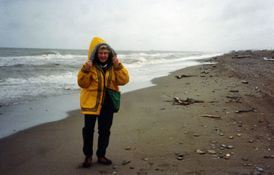 Because it was in August, there was no snow on Nome Beach when Patricia Stephenson visited in 2000.