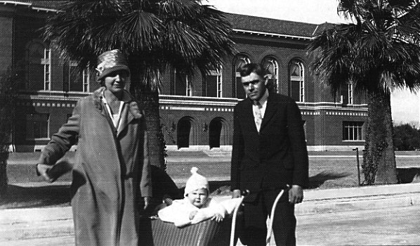 The Peters family on an outing near the newly built University of Arizona library in December 1928. Parents Ivan and Wilma, and five-month old Patricia.