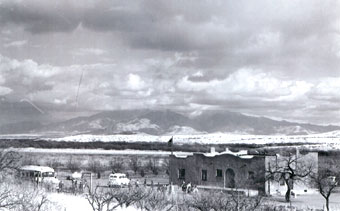 Image of the Sopori School, following a snow storm. courtesy Lee Bell Taylor.