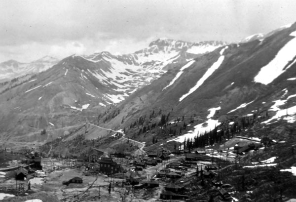 Panoramic view of the Tomboy Mine, five miles east of Telluride, Colorado. One of a series of photos taken by Tom between 1911 and 1916. This scene today is obscured by mine tailings