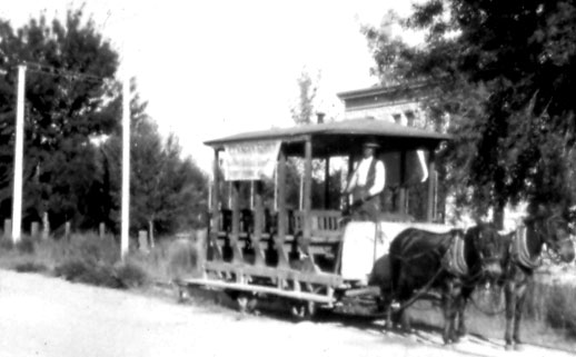 Trolley returning to town from Elysian Grove. The Grove had been renamed in 1903 by the new owner, Emanuel Drachman. Leopoldo Carrillo originally developed Carrillo's Gardens in 1878. A popular park and lake, the Grove served as the site for some of the University's early athletic events.