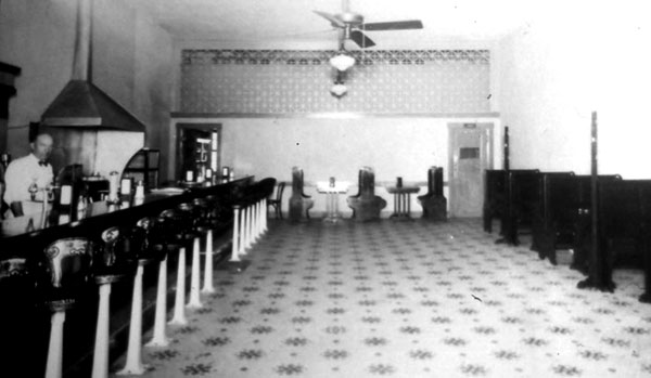 An interior of the drugstore.