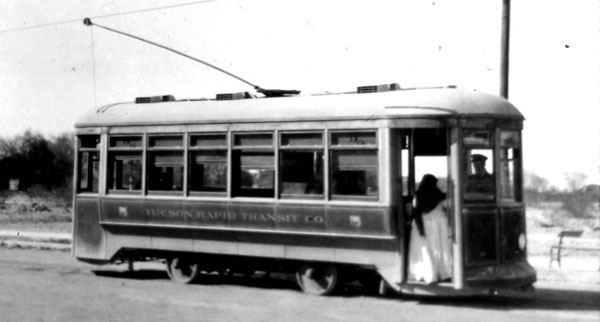The Tucson Rapid Transit trolley at the end of the line near the University Main Gate.